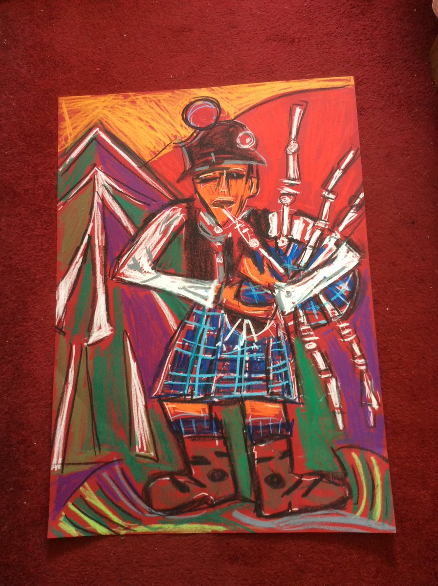 bagpiper at highland games by Jo Sunshine Art